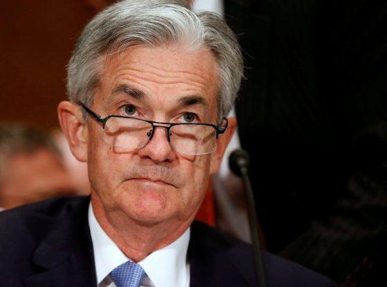 Gubernur FED Jerome Powell memberi keterangan pers usai pertemuan FOMC